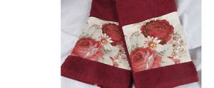"Waverly Cream and Red on Cream Towels 2/towels 16"" x 26"" Pretty Towels"