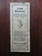 Vintage National Lead Co Paint Color Sample Chart Brochure Dutch Boy White Lead