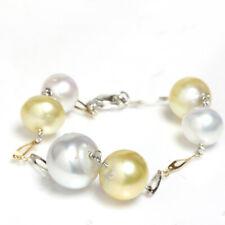 "South Sea Pearl Station Bracelet 7""1/2 14k White & yellow gold"