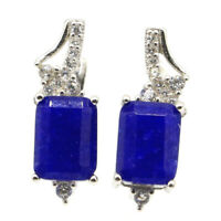 17x6mm 3.3g Real Blue Sapphire CZ For Ladies 925 Solid Sterling Silver Earrings