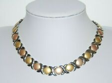 STAINLESS STEEL GOLD SILVER & COOPER TONED METAL MODERN STYLE CHOKER NECKLACE