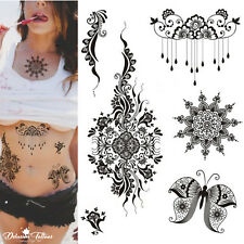 Henna Temporary Tattoo Kit - Set of 6 - Mandala Butterfly Flowers Lace Black