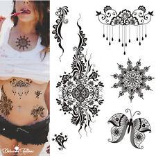 Henna Temporary Tattoo Kit - Set of 6 - Mandala Butterfly Flowers Lace Black