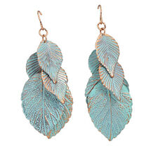 UK TURQUOISE LEAF BOHO DANGLE DROP EARRINGS Bohemian Tribal Jewellery Gift Idea