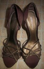 DOLCIS Brown Braid Open Toe Satin High Slim Heel Party Shoes Size 6