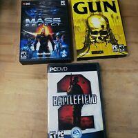 Lot of 3 PC Games - Battlefield 2 Mass Effect Gun Windows EA Activision Bioware