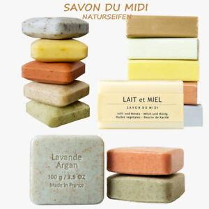 Naturseifen SAVON du MIDI 100g Blütenseife Karitéseife Peeling Argan Lavendel Ro