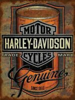 HARLEY DAVIDSON GENUINE MOTOR OIL CAN HEAVY DUTY USA MADE METAL ADVERTISING SIGN