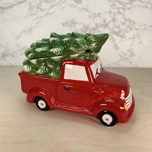 Ceramic Red Truck Christmas Tree Cookie Jar
