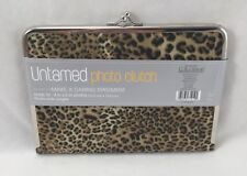 C.R. Gibson Photo Clutch New Leopard Print with Silver Chrome Trim
