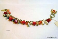 """Gold Tone Shell Bracelet w/ Coral Red Pink Beads & Shells 7½"""" NEW"""