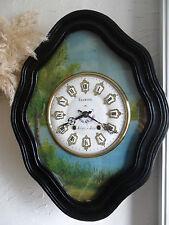 oeil de boeuf décor paysage,cadran émaillé a cartouche,horloge,pendule,mouvement