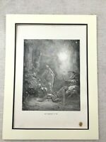 Old Religious Print Adam and Eve Creation of Woman Antique Original 1870