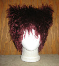 KITTY CAT FUR EARS HAT MONSTER YETI FESTIVAL BURGUNDY SPIRIT WIG BURNER COSTUME