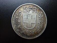 1931 Switzerland 5 Franken/Franc Large Silver Coin