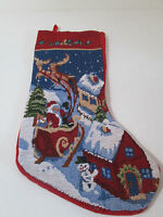 "Santa Sleigh Over Rooftops Reindeer Tapestry Christmas Stocking 16"""