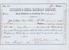 Columbus & Xenia Railroad Company 1852 Assorted  Share Stock Certificate Bond