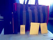 Fendi Pequin Shopping Tote Bag, Red/Tobacco Medium to Large