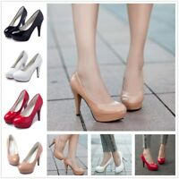 Womens OL Round Toe Stiletto High Heel Platform Pump Party Evening Shoes Wedge S