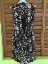 Jacqui E Designer Womens Black Brown Print Dress - Size 12