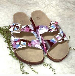 Women's Slide Double Buckle Floral Sandals XL