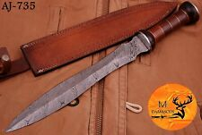 "19"" HAND FORGED DAMASCUS STEEL SWORD WITH ROSE WOOD HANDLE - AJ 735"