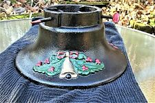Nice Antique Cast Iron Christmas Tree Stand ~ Embossed Merry Christmas & Wreath