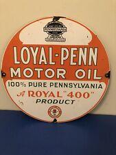 New ListingVintage Porcelain Loyal-Penn Motor Oil Gas And Oil Sign