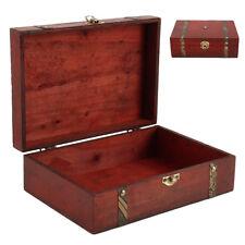 Vintage Wooden Treasure Chest Wood Jewellery Storage Box Case Organiser Ring