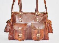 Handmade leather shoulder satchel vintage messenger bag briefcase for ladies GI