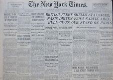 4-1940 WWII April 18 BRITISH FLEET SHELLS STAVANGER; GERMANS DRIVEN FROM NARVIK