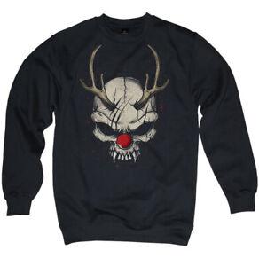 Pullover Natale Evil Orrore Rudolph Babbo Natale Teschio Maglione Uomo S-3XL