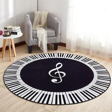 Music Symbol Piano Keys Black White Round Carpet Anti Slip Rugs Home Bedroom Foo