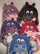 Crochet Hippo Hat/Beanie - Made to Order - Baby to Adult Sizes - 5 Color Choices
