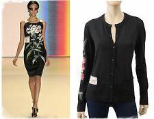 CAROLINA HERRERA Black Silk-Cashmere Floral Applique LSlv Cardigan M ~ SO FEMME!