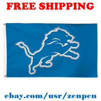 Deluxe Detroit Lions Team Logo Flag Banner 3x5 ft NFL Football 2019 NEW