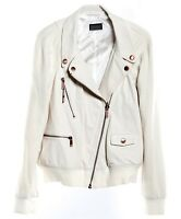 New DIESEL Brand White G-Felix Leather Zip Jacket  Celebrity Bomber Biker Style