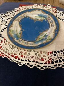 Pretty Porcelain Plate With Gold Handpainted Decoration Vintage