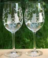 2 schöne große Weingläser mit Katze Katzen cat Echt HANDGESCHLIFFEN