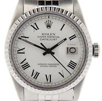 Rolex Datejust Stainless Steel Watch White & Black Roman Dial Jubilee Band 16030