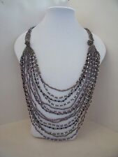 New Long Gold Beaded Necklace in Pink & Pearl or Black & White or Blue & Green