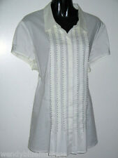 Sara 20 Short Sleeve Pintuck Blouse Concealed Buttons & Seed Bead Trim To Front