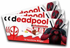 3x Aufkleber DEADPOOL (Motiv 1) für Kinderschokolade (Geschenk, Gadget)