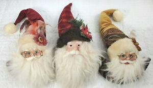 "Lot Three (3) Santa's Head Ornaments Tree Christmas Décor Resin/Plush 16"""