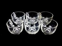 Vintage Punch/Tea Cup, Square Bottom, Twisted Rope Handle, Clear  Glass Set of 6