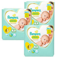 3x 23 = 69 Pampers Premium Protection New Baby Größe 1 Windeln 2-5 kg Diapers