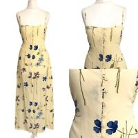 Women Yellow Maxi Dress 8 10 Strappy Button Tie Back Floral Sun Summer Holiday