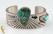 Designer Abraham Begay Native American Sterling Silver Cuff w/ Turquoise Stones