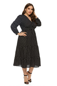 Women Black Dot Long Dress | Plus Sizes Long Sleeve Long Designer Dresses Ladies