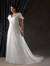 Chiffon Cap Sleeve Wedding Dress Bridal Gown Custom Plus Size 18-20-22-24-26-28+